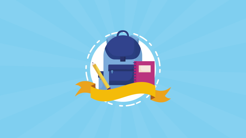 education and learn schoolbag and supplies ,4k video animation