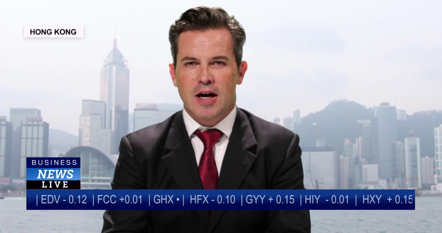 MS Male anchor reporting live from Hong Kong, China with stock market update