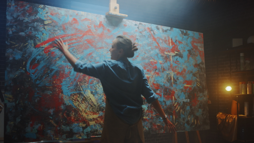 Talented Innovative Female Artist Draws with Her Hands on the Large Canvas, Using Fingers She Creates Colorful, Emotional, Sensual Oil Painting. Contemporary Painter Creating Abstract Modern Art | Shutterstock HD Video #1036107734
