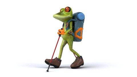 Fun backpacker frog walking - 3D Animation