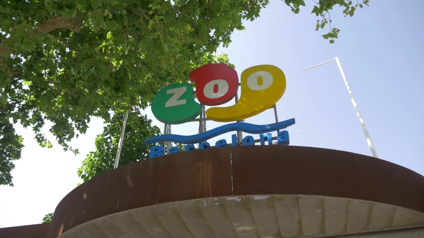 Barcelona Spain June 26nd 2019 Shot Showing The Entrance Sign Or Logo From The Zoo De Barcelona On A Sunny Summer Day