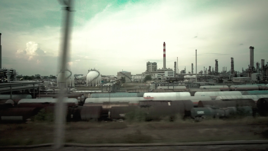 Train Railway industrial Zugfahrt Industrie Gebiet 4k aus dem Zug   Shutterstock HD Video #1036145240