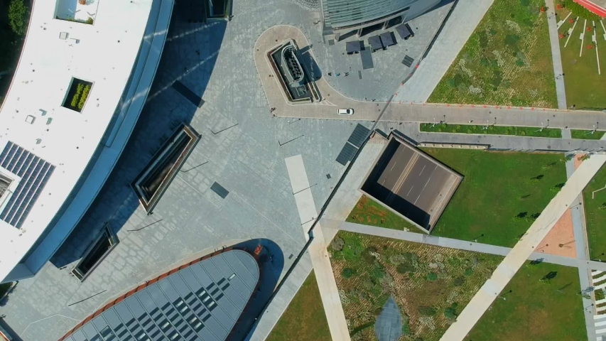 New architecture in the new business center of Milan on the promenade of Porta Nova Varezine. Office buildings. Shooting with a drone. Modern houses made of concrete and glass. Lombardy. Finance | Shutterstock HD Video #1036145486