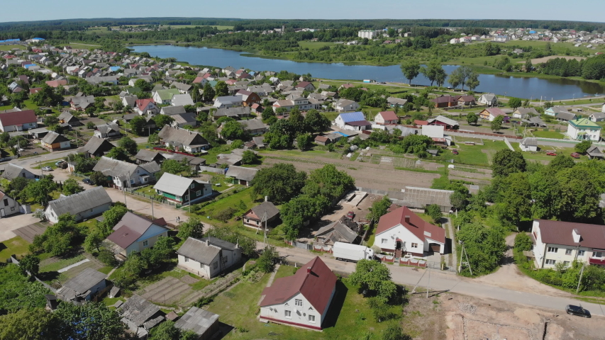 Aerial view Russian small town. Belarus. Voronovo.   Shutterstock HD Video #1036155263
