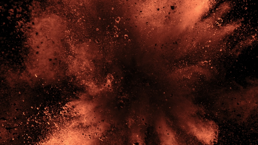 Super Slow Motion Shot of Cocoa Powder Explosion Isolated on Black Background at 1000fps.