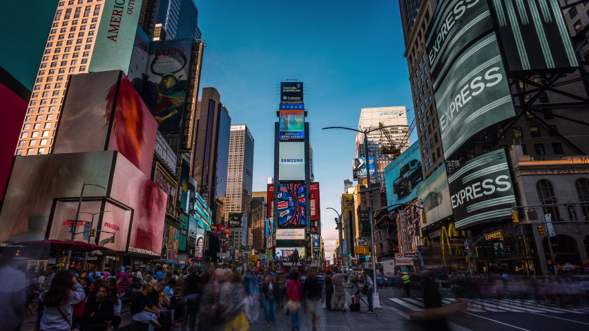 New York, USA - September 16, 2016 : Crowd of people in Time Square in New York time lapse tilt