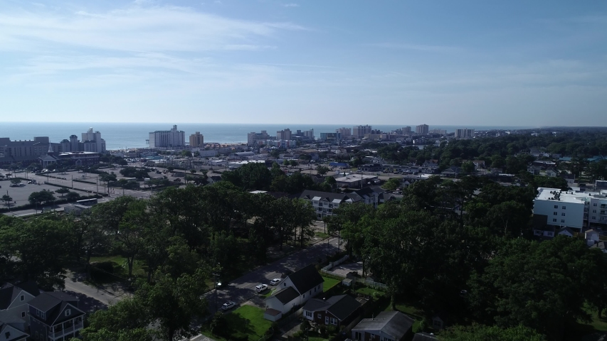 4K establishing aerial shot of Virginia Beach, Virginia, USA