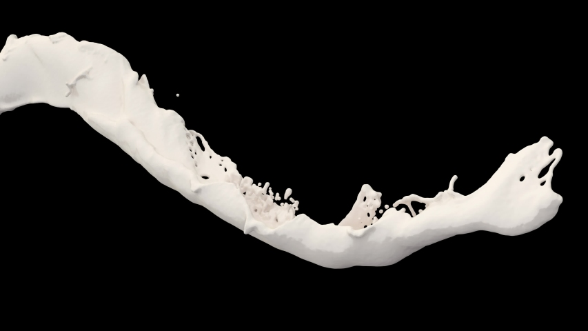 4K slow motion 3D vortex milk flow with a splashes isolated on a black background with alpha matte #1036187645
