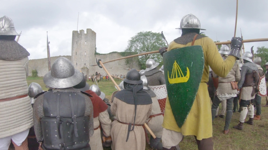 battle of visby knights fighting medieval swords bowmen horses slaughter battlecry castle walls