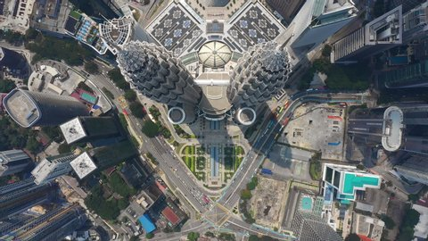 KUALA LUMPUR, MALAYSIA - OCTOBER 11 2018: city downtown sunny day famous towers rooftop aerial topdown panorama 4k circa october 11 2018 kuala lumpur, malaysia.