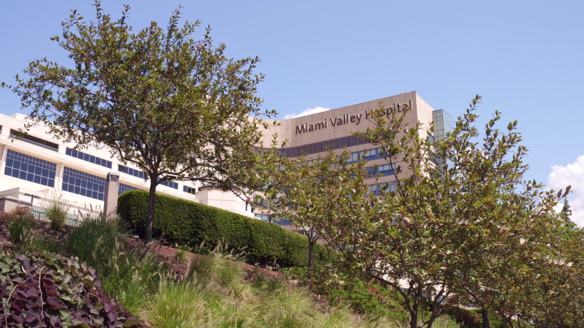 DAYTON, OHIO - AUGUST 7, 2019: Establishing exterior of Miami Valley Hospital on the day Donald Trump visited victims of the shooting the prior weekend in Dayton, Ohio.