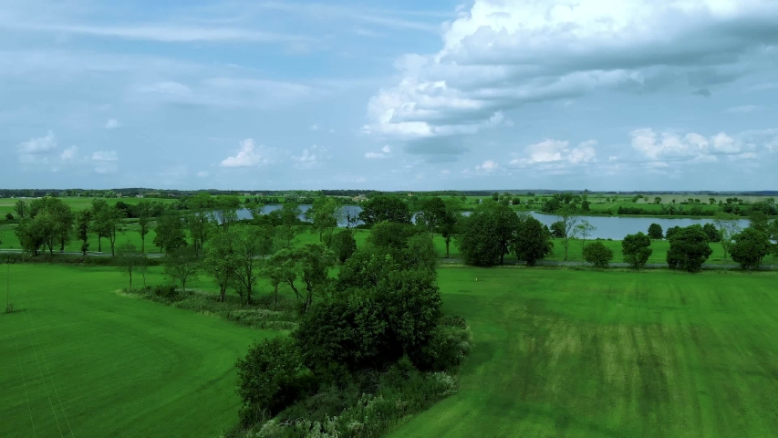 Fly over high trees near lake, blue sky with white clouds, aerail footage | Shutterstock HD Video #1036224839