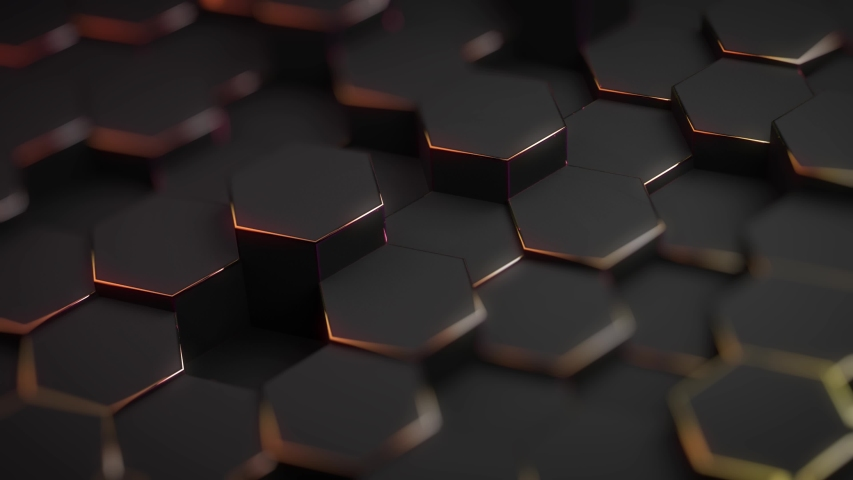 Abstract hexagon geometric surface, black minimal texture with neon orange holographic glow, random fluctuation of the canvas movement background. Seamless loop 4K 3D pattern digital motion graphics | Shutterstock HD Video #1036250123