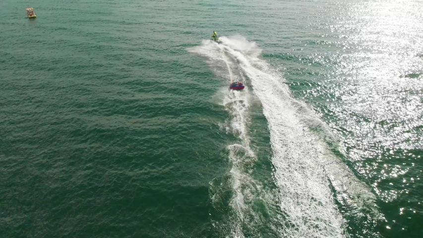 Drone Shot Banana Boat . Water Activities   Shutterstock HD Video #1036253018
