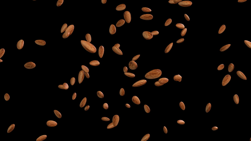 3D animation of a almond flow with alpha layer