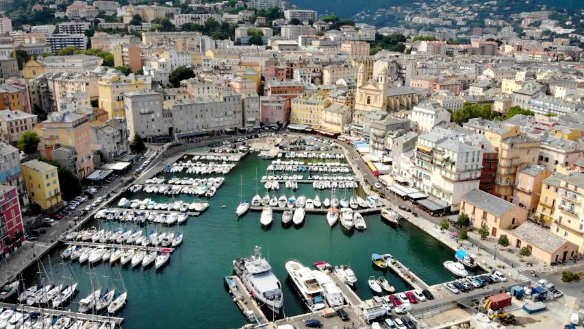 Aerial view of Bastia harbor, Corsica   Shutterstock HD Video #1036274363