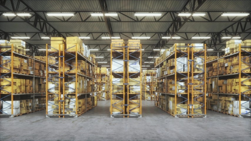 Products at the warehouse. Horizontal camera move between the rows shelves with cardboard boxes. Industrial interior storage room. Logistics center interior full of racks with with large number packs.