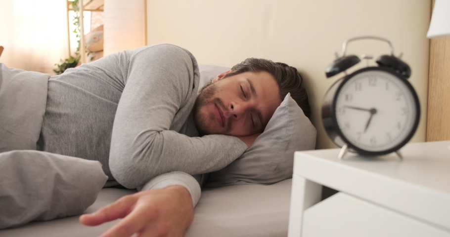 Shocked man waking up with alarm | Shutterstock HD Video #1036283150