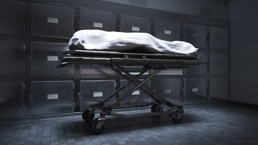 Camera shows the dead body covered with a white cloth in the morgue. Waiting for the funeral or dissection. Life is gone. Room is equipped with mortuary refrigerators, where human remains are cooled.