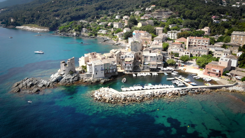 Aerial view of ancient village Erbalunga, Corsica, France   Shutterstock HD Video #1036310483