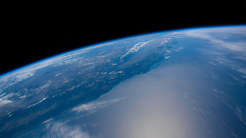 Beautiful time lapse of over the Earth from International Space Station behind a dusty window from North Pacific Ocean to Mexico . Earth maps and images courtesy by Nasa.  | Shutterstock HD Video #1036319954