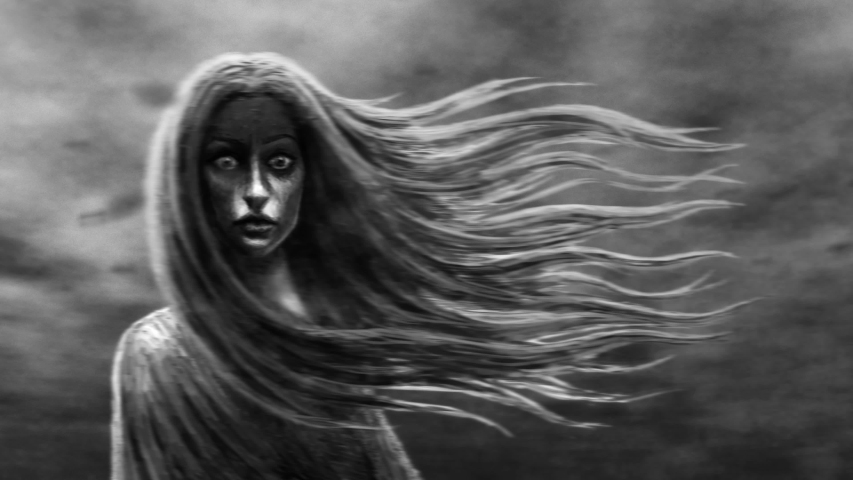 Young woman with flying hair on background of running clouds. Girl looks into camera. Fantasy 2D animation in black and white color. Animated dark female character. Gothic cruel ghost with evil eyes. Royalty-Free Stock Footage #1036331306