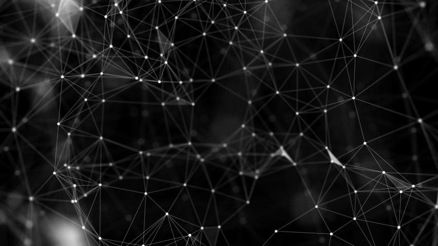 Animation of plexus dots on a dark background. Technology network background concept. #1036340912