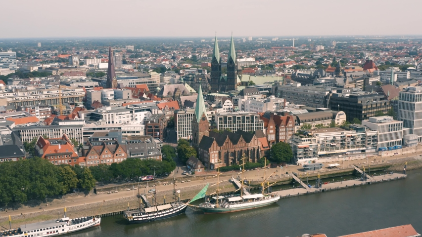 Aerial view of Bremen on a sunny day | Shutterstock HD Video #1036343195