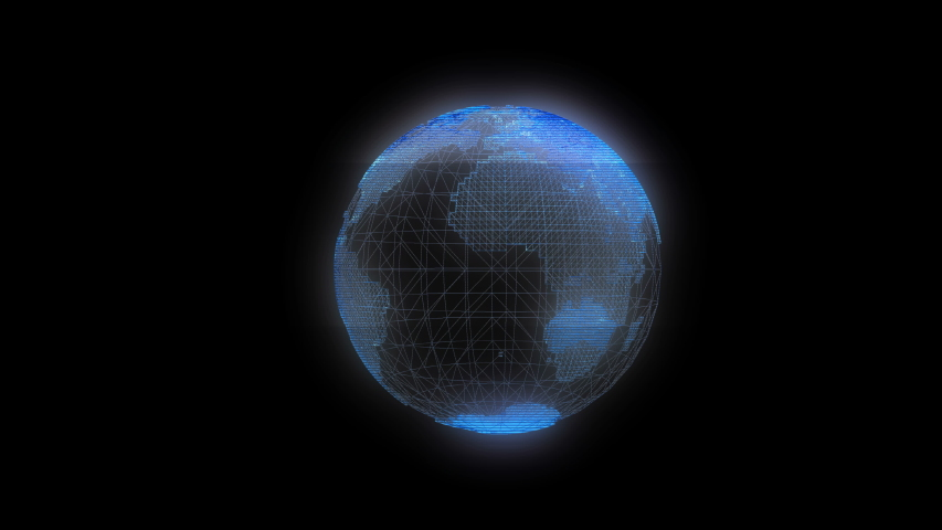 Digital rotating globe hologram - abstract illustration of a scientific technology data network surrounding planet earth. #1036349009