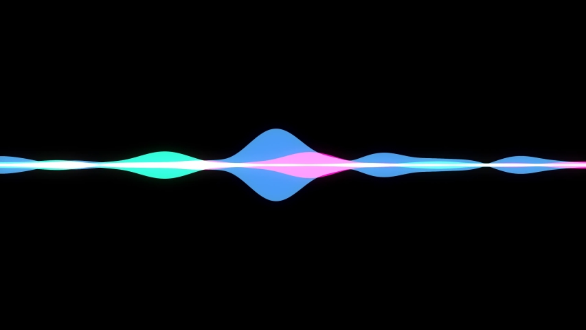 Voice speech horizontal waveform multi-colored patterns. Loop ready animations. Black and white background versions.