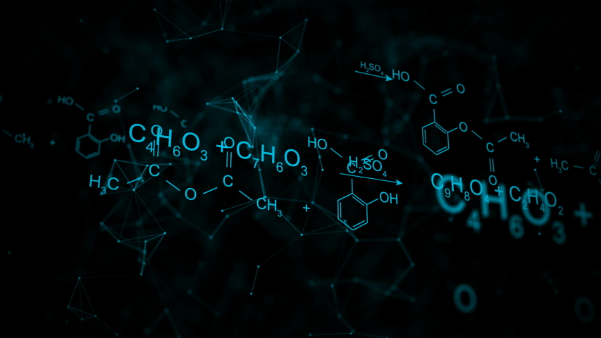Animation of typing aspirin chemical formula consisting of benzene rings, hexagon in abstract digital space. Seamless loopable background.