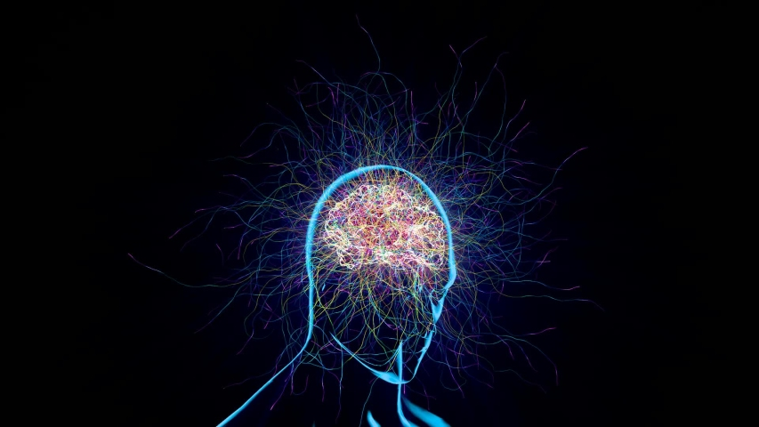 The theme of this looping 3d bright animation is the emptiness of the light of consciousness and the creation of our worldview from confused thoughts | Shutterstock HD Video #1036361552
