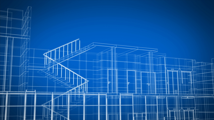 Abstract Beautiful Building Process of Skyscraper Blueprint Grid Seamless. Looped 3d Animation of Growing Construction Progress Modern Building in Lines Structure. 4k Ultra HD 3840x2160. Royalty-Free Stock Footage #1036374719