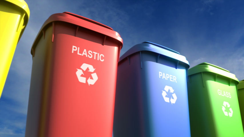 Plastic garbage bins with waste type label and recycle logo are the best for waste sorting systems. Separate garbage collection helps save the environment and decrease environment pollution. Loopable | Shutterstock HD Video #1036381232