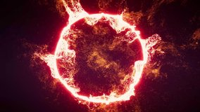 4k floating energy forming a ring, used  for titles and movie clips, magical energy fire ring