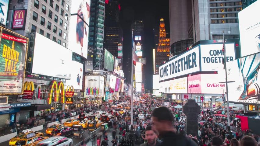 New york city , new york / United States - 08 02 2019: Timelapse of Time Square at night, Manhattan, New York City