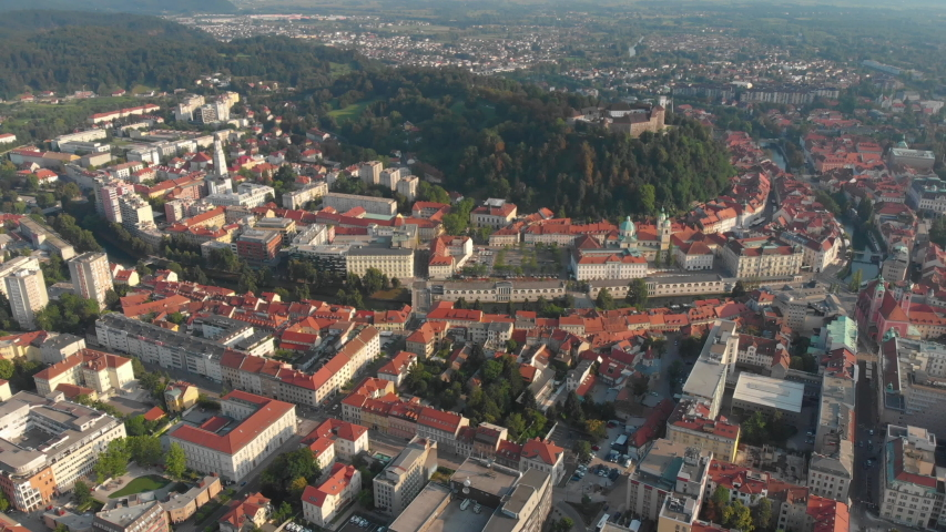 Aerial video of downtown Ljubljana in Slovenia on a beautiful sunny day. June 2018 Royalty-Free Stock Footage #1036444184
