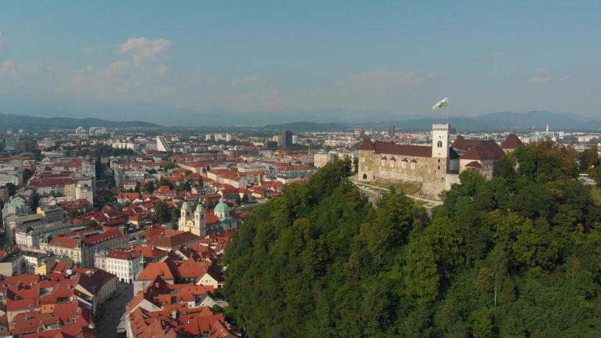 Aerial video of downtown Ljubljana in Slovenia on a beautiful sunny day. June 2018 Royalty-Free Stock Footage #1036444244