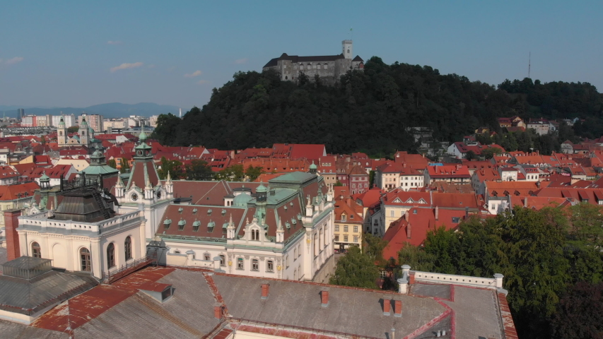 Aerial video of downtown Ljubljana in Slovenia on a beautiful sunny day. June 2018 Royalty-Free Stock Footage #1036444256