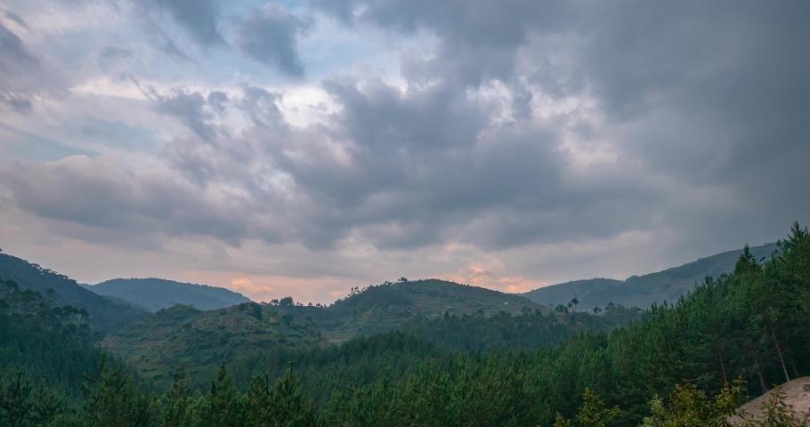 Time lapse over Bwindi National Park, Uganda