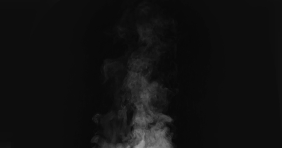 Steam from a Freshly Prepared Dish. White Steam rises from a large pot that is behind the scenes. Black background. Filmed at a speed of 120fps Royalty-Free Stock Footage #1036454690