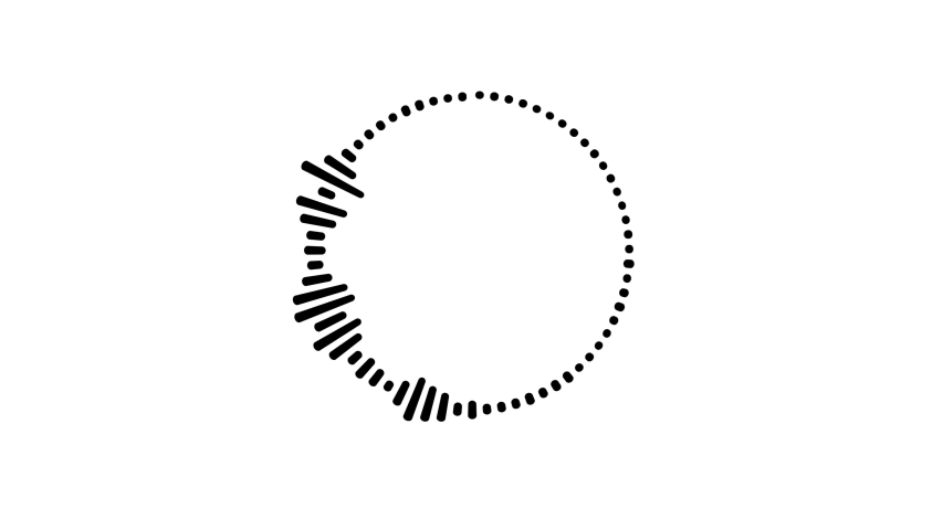 Graphic circular loop of rythmic black audio frequency sound wave on white background | Shutterstock HD Video #1036458923
