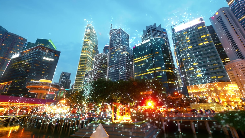 Singapore cityscape with futuristic network connection. Technology concept. Hyperlapse  | Shutterstock HD Video #1036500143