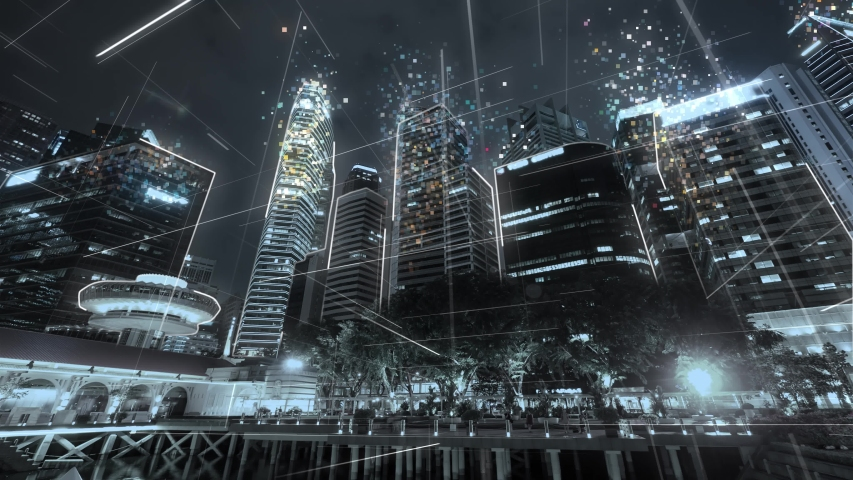 Singapore cityscape with futuristic network connection. Technology concept. Hyperlapse