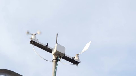 Meteorological station measuring wind speed and direction, low angle