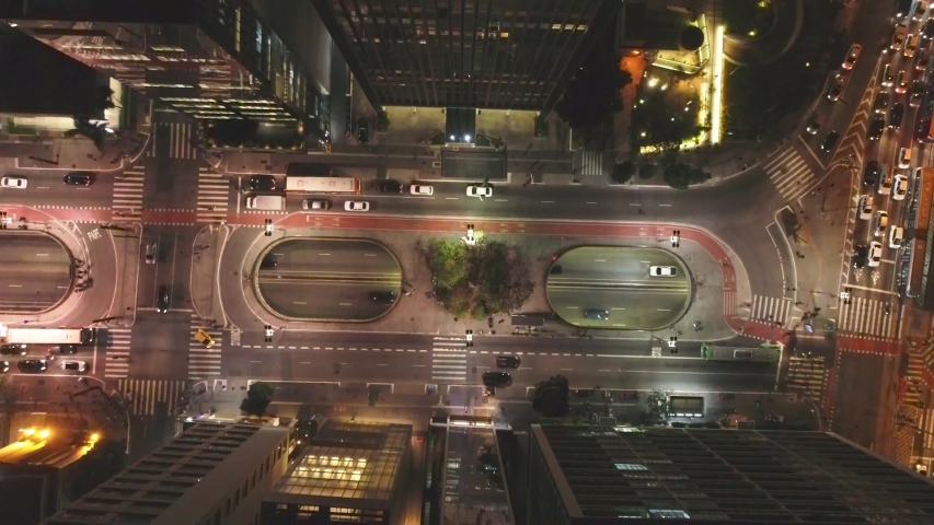 Paulista avenue aerial view at night, São Paulo rush hour traffic light in metropolis of Brazil | Shutterstock HD Video #1036573208