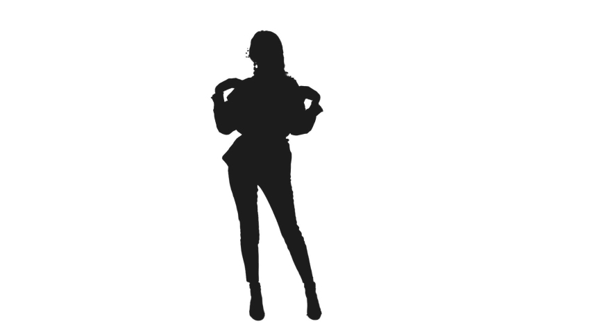 Black and white silhouette of young female dancer moving gracefully, Full HD footage isolated on white background with LUMA MATTE