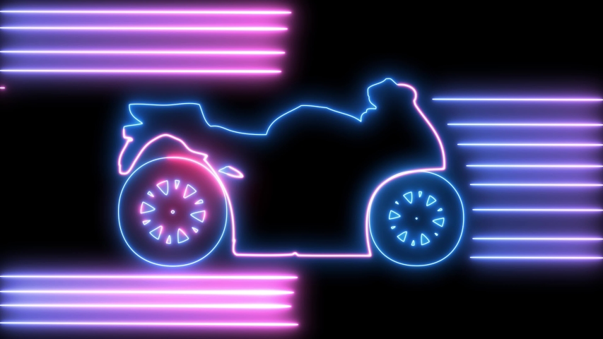 Neon motorcycle on road animation. Led, colorful light of outline bike, racer, rider, chopper, freedom and travel concept. Retro motorbike.  | Shutterstock HD Video #1036584176
