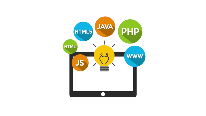 Programming language with tablet and icons ,hd video animation   Shutterstock HD Video #1036602095
