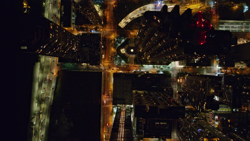NYC New York Aerial v103 Vertical nighttime cityscape of Murray Hill neighborhood - October 2017